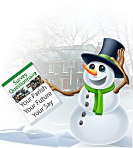 Snowman holding a Survey Questionnaire